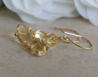 Citrine earrings, citrine gemstone earrings, citrine jewelry gift for her, November birthstone jewelry, 14k gold fill ear wires,