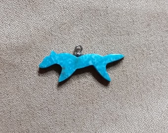 Blue Turquoise Running Wolf Cabochon/ Sonora, Mexico/ with eyehook/ backed