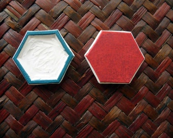 Hexagon Rubber Stamp, Geometric Shape, Honeycomb, Hand Carved, Fabric Stamp