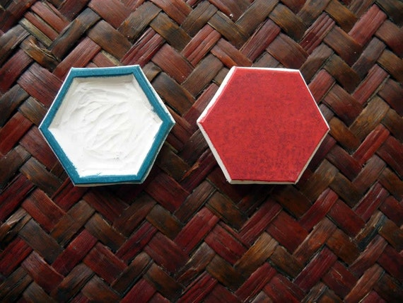 Hexagon rubber stamp geometric shape honeycomb hand carved