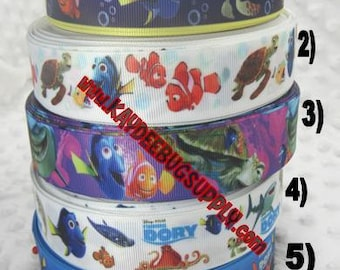 3 yards FINDING DORY NEMO 3/8 inch or 1 inch - Printed Grosgrain Ribbon