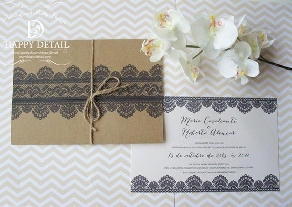 Rustic Wedding Invitation Romantic Lace Invitation Kraft