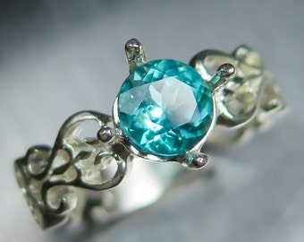 1.10cts Natural Paraiba blue apatite round cut 925 silver engagement ring all sizes