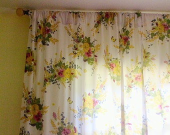 vintage cotton long curtains handmade sheets curtains vintage window treatments