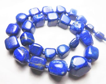 Chunky Graduated Tumble Lapis Lazuli Beads Strand Necklace Afghanistan  LP1008