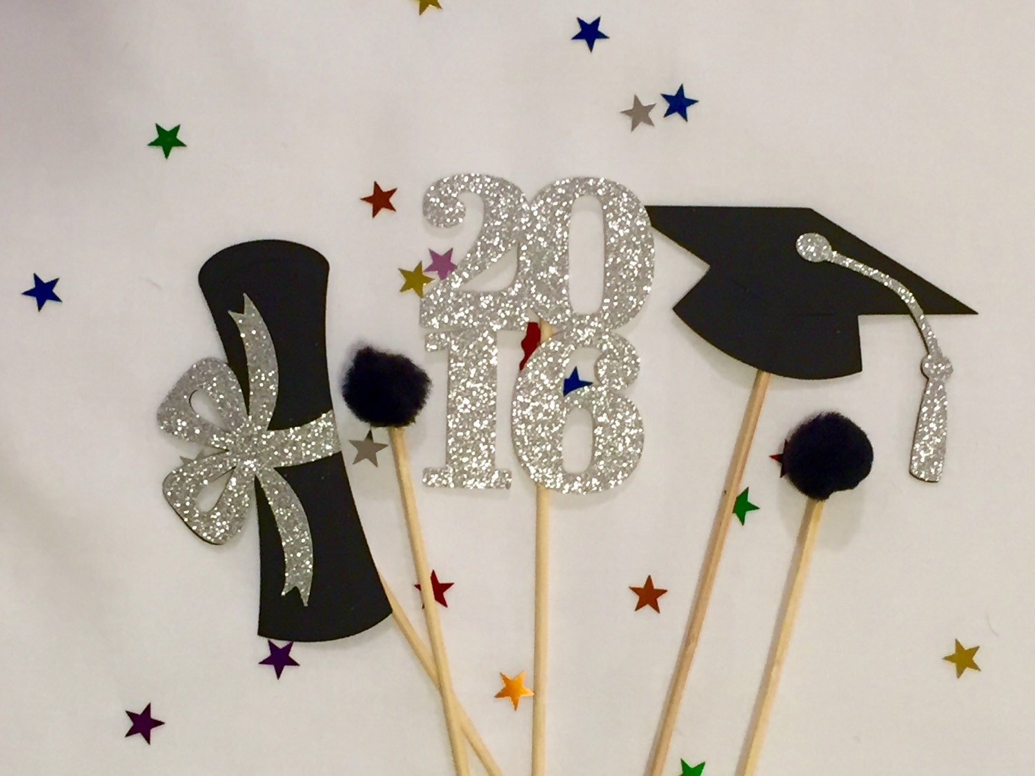 Graduation centerpiece sticks 2016 graduation party party for Graduation decorations