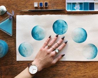 "Watercolor ""Oceanic Blue Moon"""