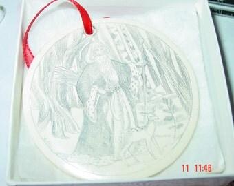 Vintage Scrimshanders Etched & Carved Christmas Ornament
