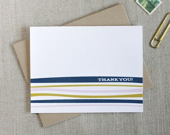 Modern Thank You Note Card // Colorful Stripes // Minimal Thank You Notes // Elegant Stationery