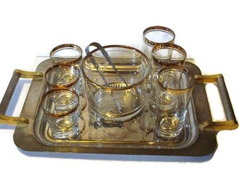 Mad Men Style Gilded Glasses, Ice Bucket and Silver Tray Set ,Vintage Barware Set,  Mid Century,  Holiday Entertaining, Elegant Drinkware
