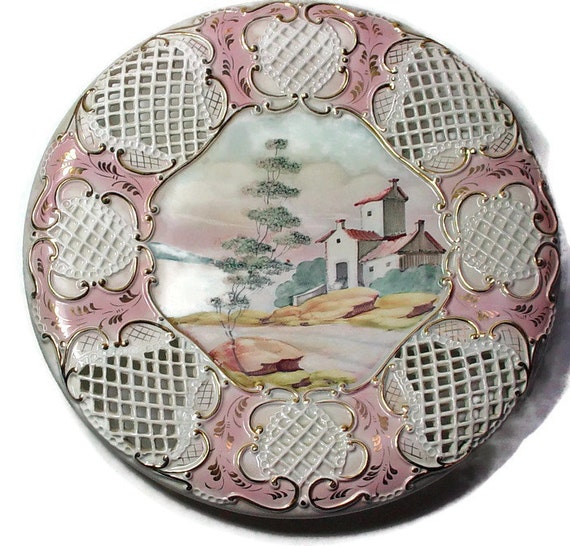 Items Similar To Vintage Reticulated Plate Hand Painted Wall Art Lattice Work Wall Hanging