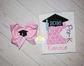 Pre-K Graduation shirt and Bow, Preschool Graduation Shirt, graduation bow, Kindergarten Graduation Shirt, Graduation Shirt.