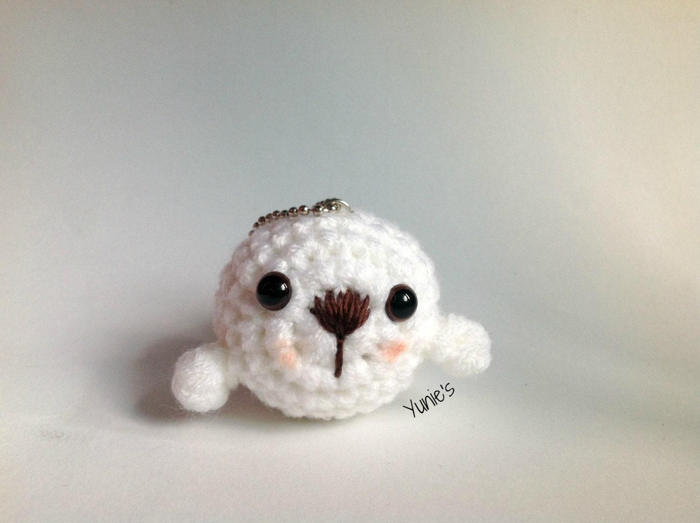 Crochet Amigurumi Seal : Crochet Seal amigurumi Bag charm keyringkeychain by Yunies ...
