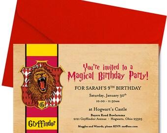 Harry Potter Birthday Invitation - Gryffindor Birthday Invitation - Harry Potter Invite - Gryffindor Invite - Hogwarts Invite - Personalized