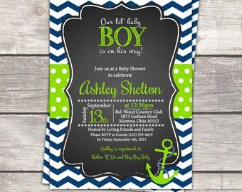 Nautical anchor baby boy Shower invitation chalkboard navy chevron, lime green polka dot, custom digital invitation files