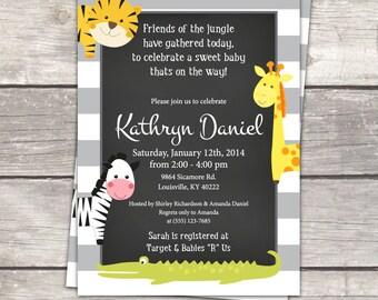 Baby shower invitation, Jungle Baby Shower, Chalkboard baby shower invitation, zoo, animals, gender neutral, printable invite