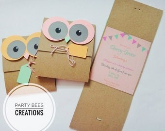 Handmade Owl Party Invitations set of 6