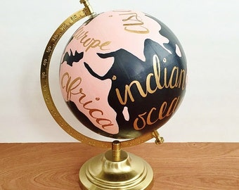 Painted globe, hand painted world globe, hand painted globe, travel globe, pink and black, anthropologie inspired, office decor, dorm decor