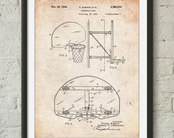 Basketball Goal Patent Print, Basketball Coach Gift, Basketball Mom, Basketball Decor, Basketball Party, PP0381
