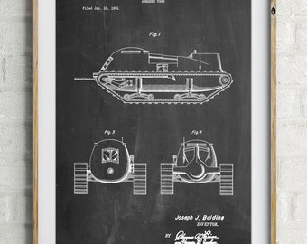 Armored Tank Patent Poster, Military Gifts, Artillery, Army Tank, Gun Enthusiast, PP0705