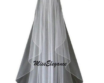 Bridal Veil 1 tier Wedding veil,  IVORY  Pencil edge Veil.Available in Shoulder 23inches to Cathedral 108 Inch Length