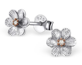 Childrens Two Tone Flower Stud Earrings 925 Sterling Silver - ESC007RP