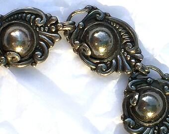 Margot de Taxco Bracelet 5270 Sterling Silver 1940s Mexico Slim Wrist