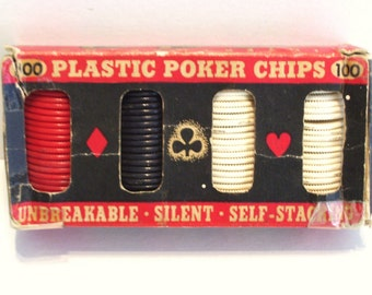 Vintage 100 Plastic Poker Chips Used Crafts Games  Original Box