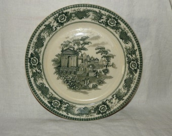 "Antique Lamberton Scammell USA PLATES, 9.25"" - Scenic -Toile - Green"