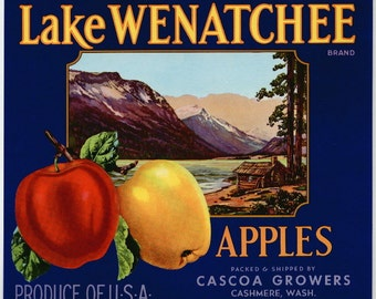 Vintage 1930-1950 Lake Wenatchee Blue Apple Crate Label – Cashmere, Washington