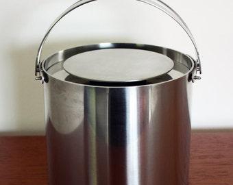 Vintage Scandinavian Stelton Stainless Steel Cylinda Line Ice Bucket Designed by Arne Jacobsen