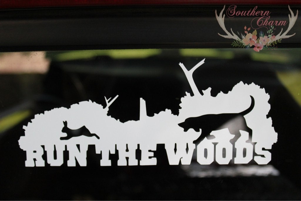 run the woods rabbit hunting decal by xosoutherncharm on etsy