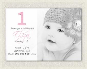 First Birthday Invitation 1st Birthday Invitation Girls / Printable Download /   Invites / Pink Black Simple Photo Invitation (11)
