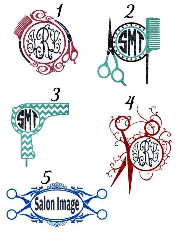 Custom hair stylist glitter monogram car decal by for Stickers design salon
