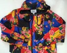 Oleg Cassini Jacket - Wild Design Floral & Dots - Crazy Color Combination! - Bomber Jacket - Retro Jogging Suit