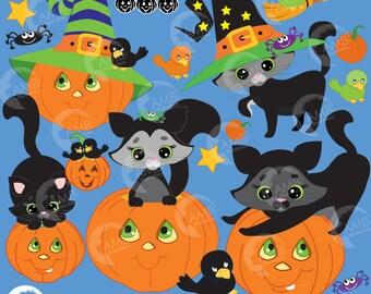 Halloween Clipart, Pumpkin Clipart, Cats Clipart, Crow Clipart, Halloween Clip Art, Witch Hats, Commercial Use, AMB-298