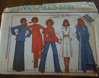 McCalls 5719, small, dress, top, bag and scarf, UNCUT sewing pattern, craft supplies, misses, womens, teens