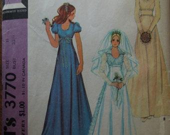 McCalls 3770, wedding gown, bridesmaids, evening wear, dress, sewing pattern,  craft supplies, juniors, misses