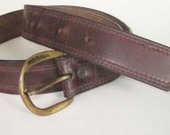 "Men's BROWN Saddle Leather 70's WOODSTOCK Belt- 42 1/2"" Long Medium/Large Six Holes Adjustable-Vintage Metal Buckle"