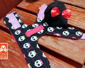 Ready to Ship - XXXS Small Pet / Ferret / Small Dog / Guinea Pig / Hoodie Harness - Bow Skull