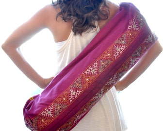 Hand Embroidered Enlightened Yoga Mat Bag - Fuchsia
