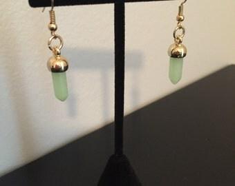 mint green crystal pendant earrings