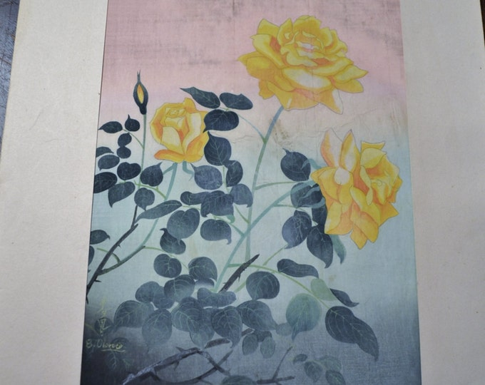 Bakufu Ohno Yellow Rose Floral Woodblock Unframed Signed Japanese Asian Mid Century Art B Ohno Panchosporch