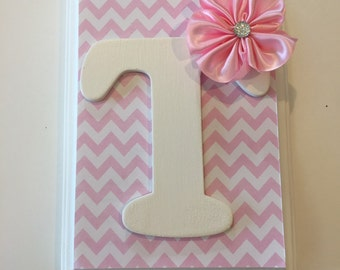Initial Letter pink chevron Hair Bow Holder and Organizer, first birthday gift, new baby gift, big sister gift