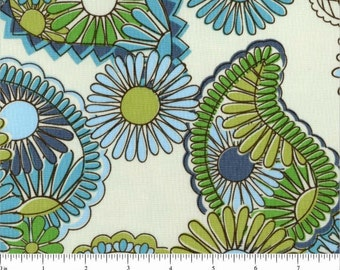 Jenean Morrison Lovelorn Paisley JM97 blue green gray white flowers floral abstract Free Spirit 100% cotton fabric by the yard
