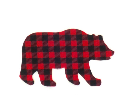 Bear Iron On Applique Buffalo Plaid Bear Iron Onto Gift Bags