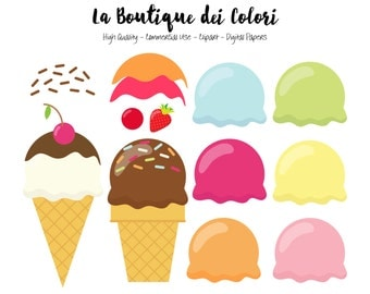 Ice Cream Clipart. Cute Clip art pack of Icecream backgrounds Summer tileable patterns for commercial use