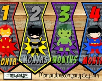 Tie Monthly Stickers Superhero Baby boy month Stickers infant Stickers Infant Neck tie Baby Boy super hero Necktie baby shower gift PRECUT