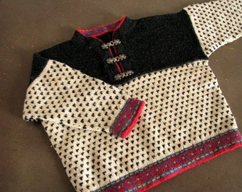 Norwegian childs sweater Knit wool Pull-Over Folksy sweater made in Norway Scandinavian Sweater Nordic pattern sweater Wool jumper
