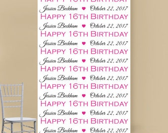 Sweet Sixteen Personalized Photo Booth Backdrop (ENWF-JM4123218)